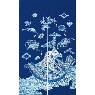 【まとめ買い10個セット品】 【業務用】藍染めのれん 宝船 NID3115-BI