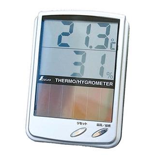 【まとめ買い10個セット品】 【業務用】デジタル温湿度計 最高・最低ソーラーパネル 72989