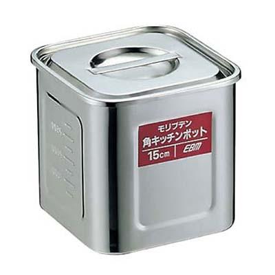 【まとめ買い10個セット品】EBM モリブデン 角型キッチンポット 目盛付 12cm【 ストックポット・保存容器 】 【ECJ】