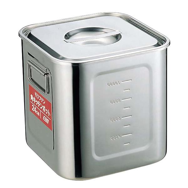 【まとめ買い10個セット品】EBM モリブデン 角型キッチンポット 目盛付 27cm【 ストックポット・保存容器 】 【ECJ】