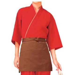 【まとめ買い10個セット品】 【業務用】作務衣(男女兼用)KJ0060-3 朱色 M