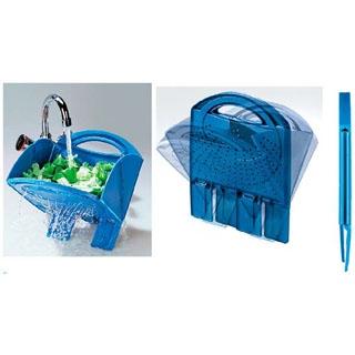 【まとめ買い10個セット品】スコラ・トゥット(折りたたみ式水切り)ブルー【 水切り・ザル 】 【ECJ】