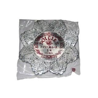 【まとめ買い10個セット品】 【業務用】ドイリー レースペーパー 丸型 銀(500枚入)5号