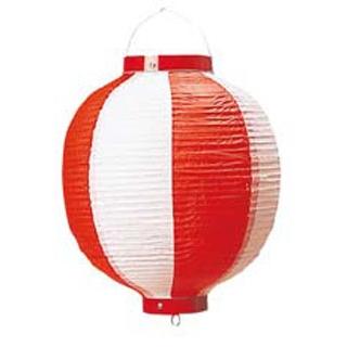 【まとめ買い10個セット品】 【業務用】丸 ビニール提灯 10号 赤/白