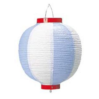 【まとめ買い10個セット品】 【業務用】丸 ビニール提灯 10号 青/白