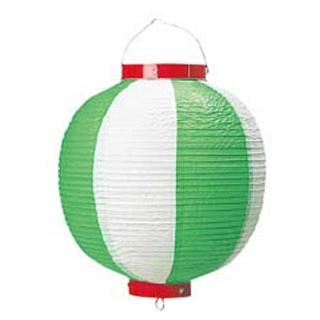 【まとめ買い10個セット品】丸 ビニール提灯 10号 緑/白【 店舗備品・インテリア 】 【ECJ】