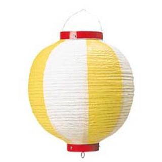 【まとめ買い10個セット品】 【業務用】丸 ビニール提灯 10号 黄/白