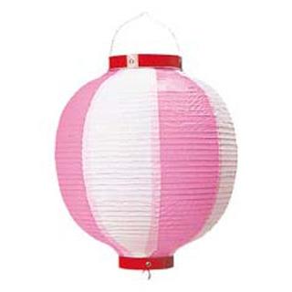 【まとめ買い10個セット品】丸 ビニール提灯 9号 ピンク/白【 店舗備品・インテリア 】 【ECJ】