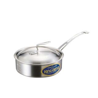 【まとめ買い10個セット品】 【業務用】ニューキングデンジ 浅型片手鍋(目盛付)21cm