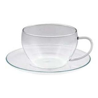 【まとめ買い10個セット品】セレック ガラスカップ&ソーサー クリア GCS-1【 カフェ・サービス用品・トレー 】 【ECJ】