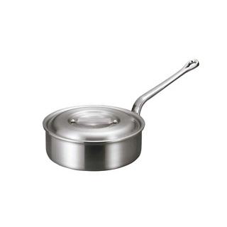 【まとめ買い10個セット品】 【業務用】アルミ バリックス 浅型 片手鍋(磨き仕上げ)18cm