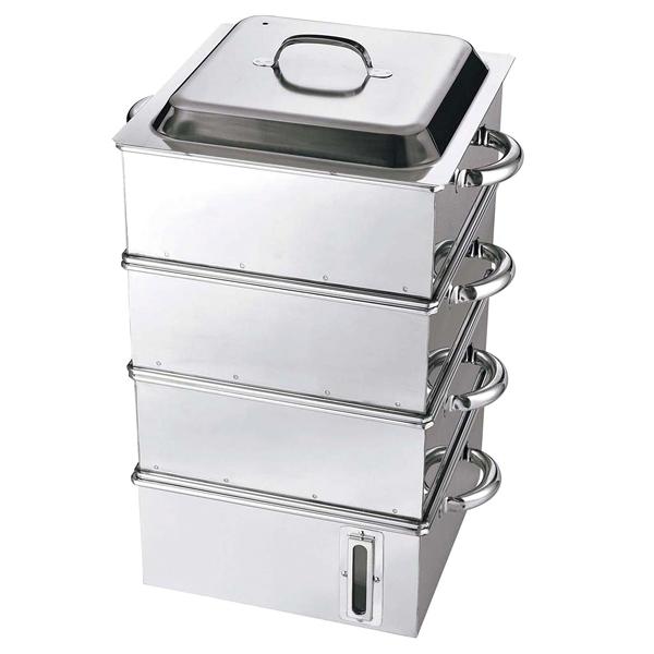 【まとめ買い10個セット品】 【業務用】【 即納 】 EBM 電磁専用 業務用角蒸器(水量計付)30cm 3段
