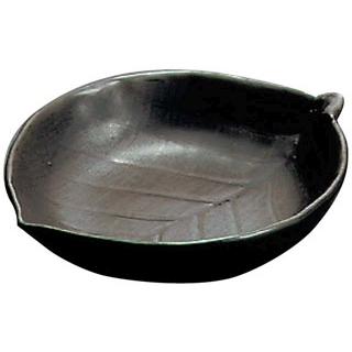 【まとめ買い10個セット品】 【業務用】陶板焼 木の葉深型 T-8-1 大 黒