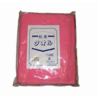 【まとめ買い10個セット品】 【業務用】カラータオル 片平地付 #200(12枚入)ピンク 340×860