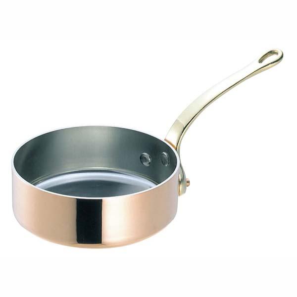 SW 銅 極厚 浅型 片手鍋 蓋無(真鍮柄)27cm 【ECJ】