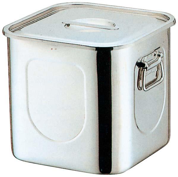 K 18-8 角型 キッチンポット(目盛付)24cm 手付 【ECJ】【 ストックポット・保存容器 】