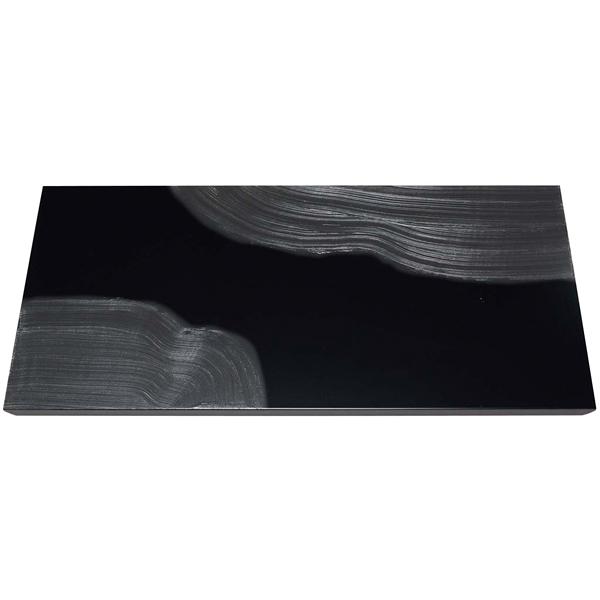 漆黒刷毛目 黒 長角トレー 隅黒漆流水 500×250×12mm 【ECJ】ビュッフェ関連