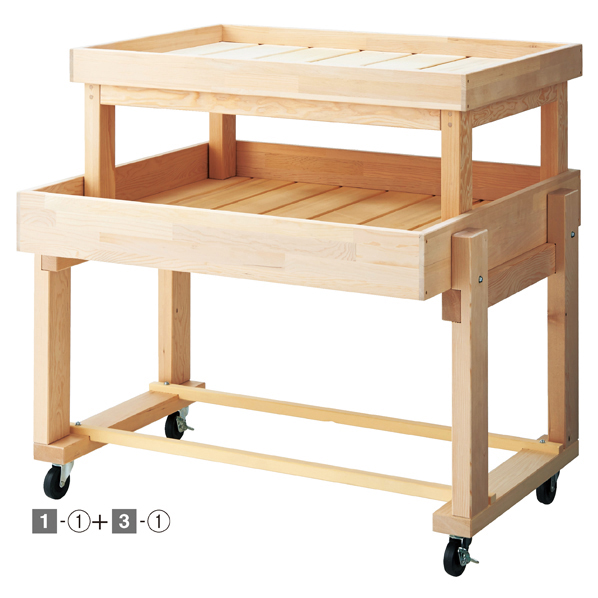 【まとめ買い10個セット品】 木製平台ワゴン無塗装W90cm 【ECJ】
