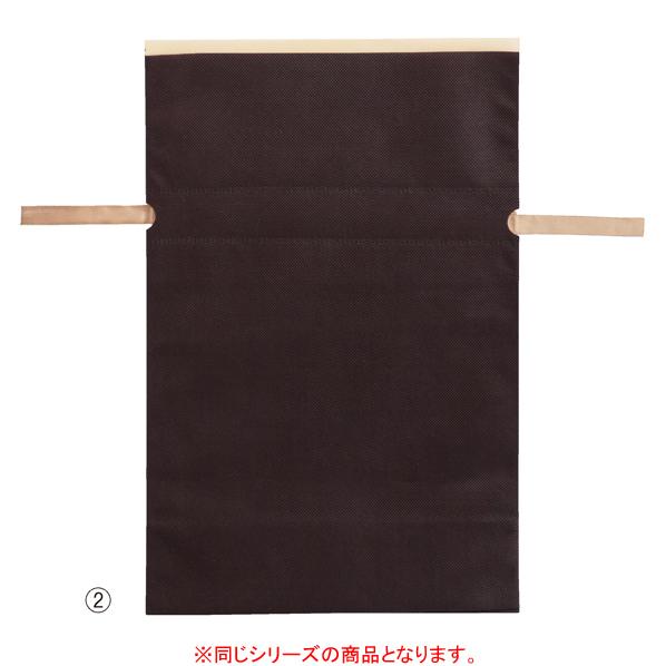 【まとめ買い10個セット品】 不織布リボン付きギフトバッグ Mブラウン 10枚 24×37[26.5]×底マチ12cm 【ECJ】