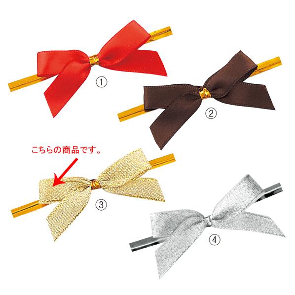 【まとめ買い10個セット品】 リボン付きワイヤータイ ゴールド 小 50個 【ECJ】