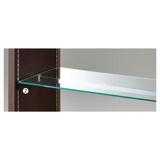 【業務用】ガラス棚セット W120cmタイプ ブラック金具 1セット