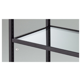 【まとめ買い10個セット品】 【業務用】ガラス棚セット W90cmタイプ スチール枠 ブラック 1セット