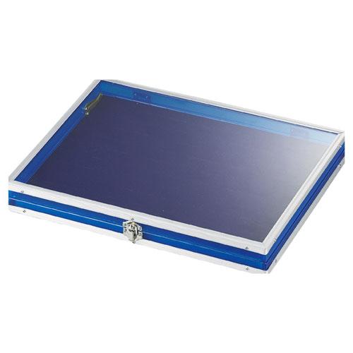 【まとめ買い10個セット品】 アルミガラスケース 中 ブルー【店舗什器 パネル 壁面 小物 ディスプレー 店舗備品】【ECJ】