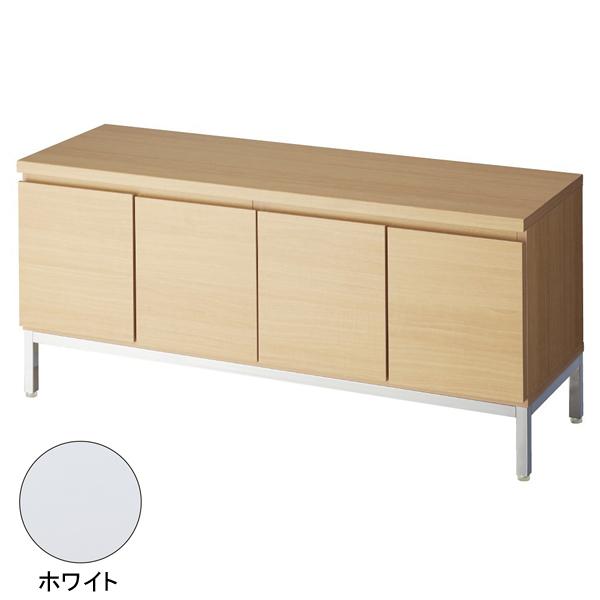 木製収納ボックスロー/スチール脚 ホワイト W120cm H53.5cm 【ECJ】