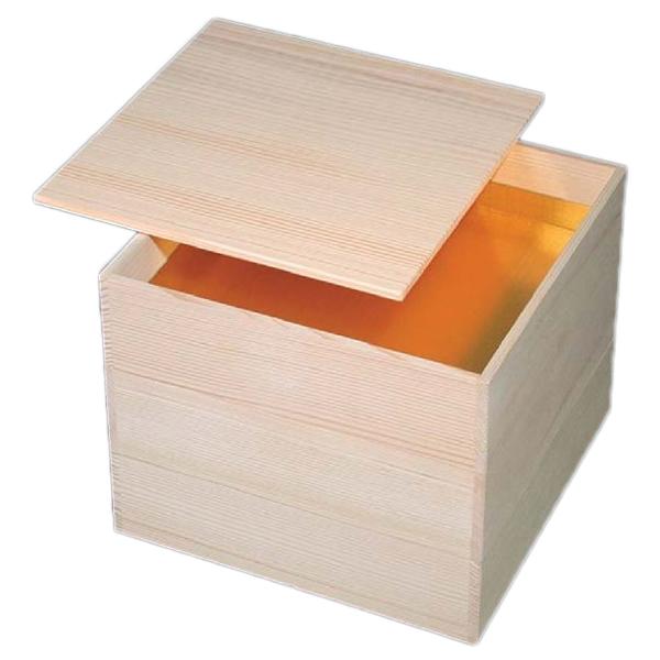 【 お重 重箱 おせち 正月 】特選木製重 伊勢の森 白木7.0寸 木製一枚蓋白木重(蓋カキオトシ式) 3段 【ECJ】