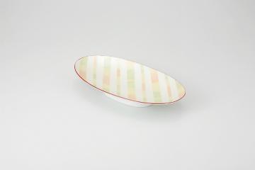 【まとめ買い10個セット品】和食器 淡彩ストライプ 楕円高台皿 35K036-05 まごころ第35集 【キャンセル/返品不可】【ECJ】