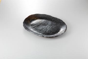 【まとめ買い10個セット品】和食器 黒釉 楕円大盛皿 35Q228-08 まごころ第35集 【キャンセル/返品不可】【ECJ】