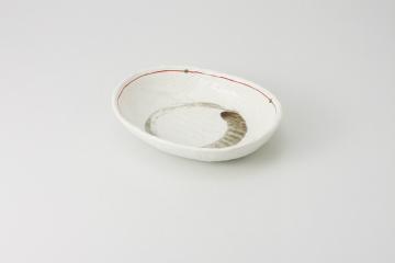 和食器 白マット赤ライン 深楕円鉢 35Y255-06 まごころ第35集