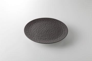 和食器 鎌倉彫調黒 フラット皿(大) 35K391-03 まごころ第35集