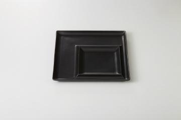 和食器 黒マット 正角二品皿(角大) 35M415-07 まごころ第35集