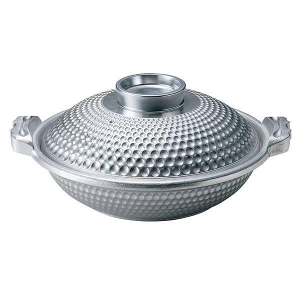 アルミ よろず鍋 白銀 深(蓋付) M11-064 31cm 【ECJ】
