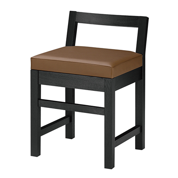和風椅子 隼人B ブラック 1384-1690(黒レザー) 【ECJ】