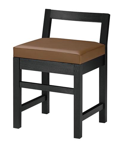 和風椅子 隼人B ブラック 1384-1691(茶レザー) 【ECJ】