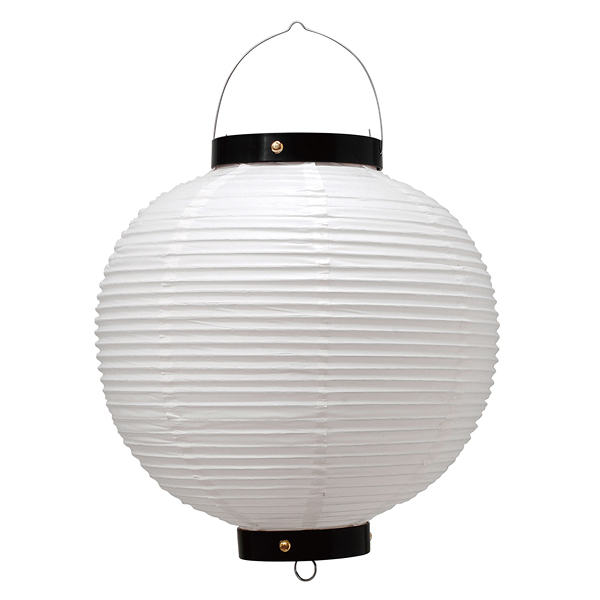 無地ビニール提灯 丸型 尺八丸 白 【ECJ】