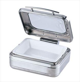 KINGO角チェーフィング 1/2サイズ J306-Tガラス蓋・陶器中皿