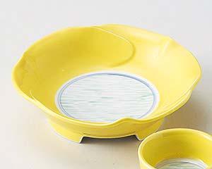 【まとめ買い10個セット品】和食器 ミ013-236 黄釉流水花形向付 【キャンセル/返品不可】【ECJ】