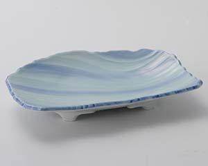 【まとめ買い10個セット品】和食器 オ015-057 青地流水彫7.0皿【キャンセル/返品不可】【ECJ】