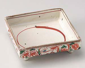 和食器 カ020-066 粉引花鳥8.0角鉢