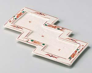 【まとめ買い10個セット品】和食器 オ023-037 赤絵短冊型三品皿 【キャンセル/返品不可】【ECJ】