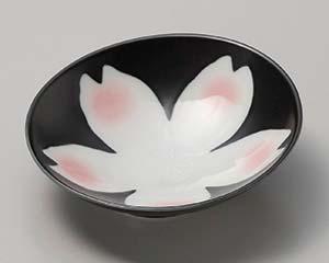 【まとめ買い10個セット品】和食器 ミ029-137 黒釉桜花スロープ向付【キャンセル/返品不可】【ECJ】