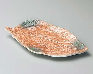 【まとめ買い10個セット品】和食器 ツ140-036 オレンジ巻グリーン吹木ノ葉皿 【キャンセル/返品不可】【ECJ】