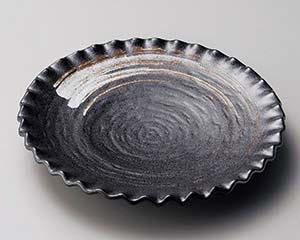 【まとめ買い10個セット品】和食器 イ172-066 栗色刷毛目波型大皿 【キャンセル/返品不可】【ECJ】