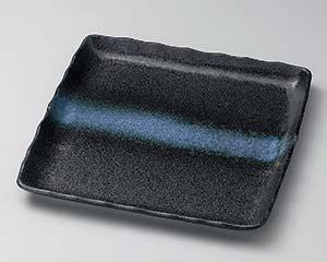 【まとめ買い10個セット品】和食器 ア177-037 黒結晶白帯引正角皿【キャンセル/返品不可】【ECJ】