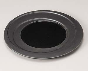 【まとめ買い10個セット品】和食器 ミ200-147 乱線 黒釉 9.0皿【キャンセル/返品不可】【ECJ】