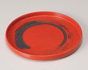 【まとめ買い10個セット品】和食器 キ202-056 ゆず赤結晶黒刷毛切立7.0丸皿 【キャンセル/返品不可】【ECJ】