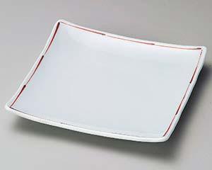 【まとめ買い10個セット品】和食器 ロ210-067 赤ライン6.0正角皿【キャンセル/返品不可】【ECJ】